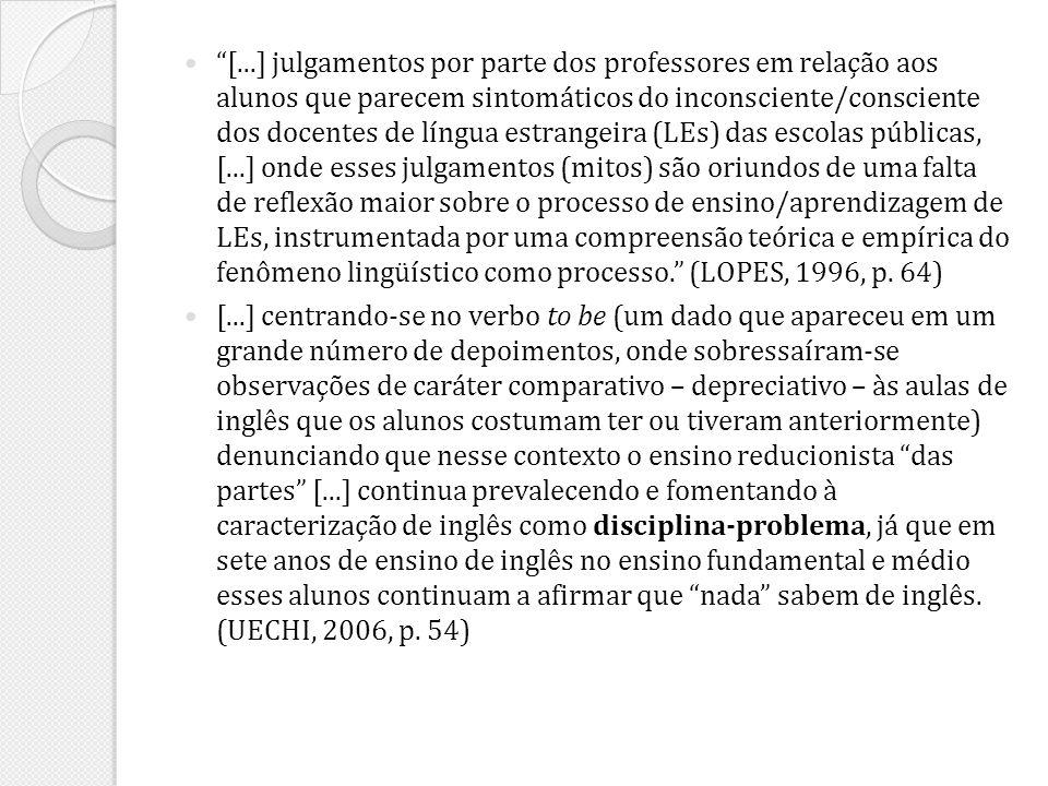 [...] julgamentos por parte dos professores em relação aos alunos que parecem sintomáticos do inconsciente/consciente dos docentes de língua estrangeira (LEs) das escolas públicas, [...] onde esses julgamentos (mitos) são oriundos de uma falta de reflexão maior sobre o processo de ensino/aprendizagem de LEs, instrumentada por uma compreensão teórica e empírica do fenômeno lingüístico como processo. (LOPES, 1996, p. 64)